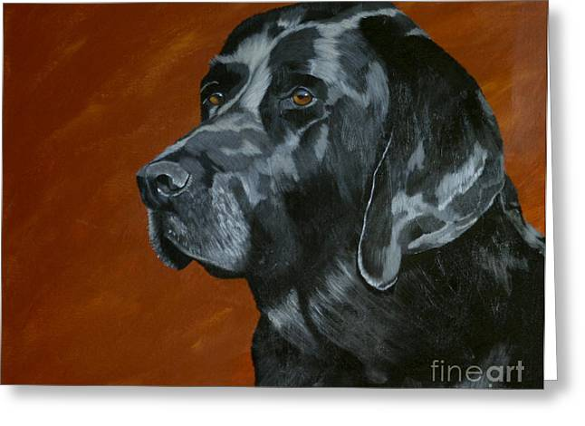 Black Labrador Retreiver Greeting Cards - Ren Greeting Card by Diana Mahnke