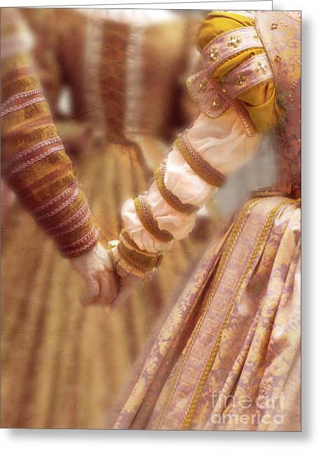 Romance Renaissance Greeting Cards - Renaissance Couple Holding Hands Greeting Card by Jill Battaglia
