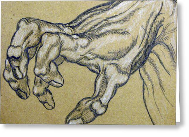 Cardboard Drawings Greeting Cards - Renaissance Hand Greeting Card by Bear Welch