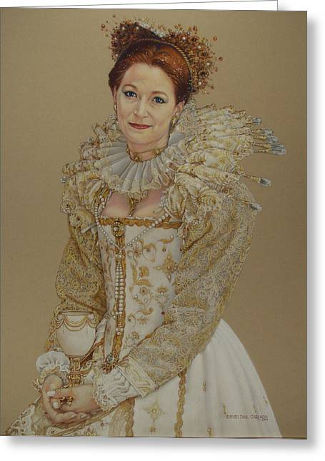 Medieval Pastels Greeting Cards - Renaissance Lady Greeting Card by Steven Paul Carlson