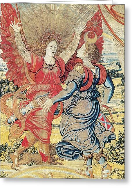 Art Roman Greeting Cards - Renaissance Tapestry Detail Greeting Card by Photo Researchers
