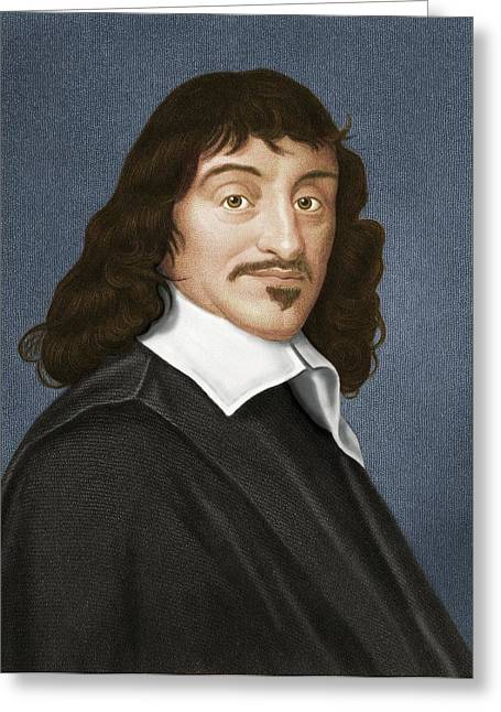Logical Greeting Cards - Rene Descartes, French Philosopher Greeting Card by Maria Platt-evans