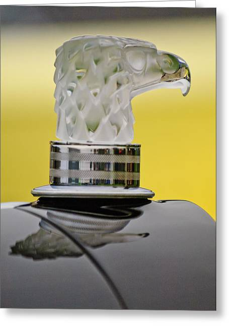 Rene Greeting Cards - Rene Lalique Glass Eagles Head Hood Ornament Greeting Card by Jill Reger