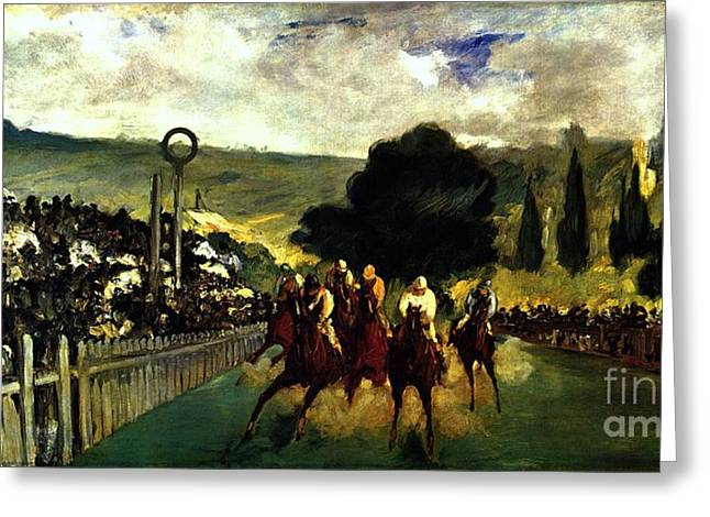 Race Horse Greeting Cards - Rennen in Longchamp Greeting Card by Pg Reproductions