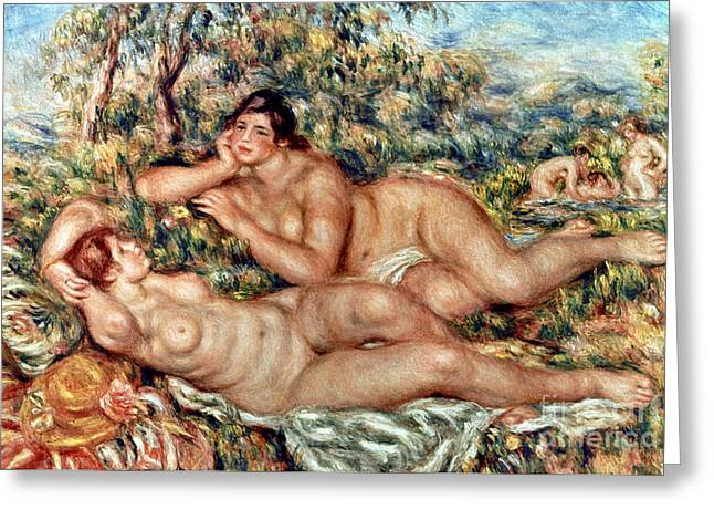 Baigneuses Greeting Cards - RENOIR: BATHERS, c1918-19 Greeting Card by Granger
