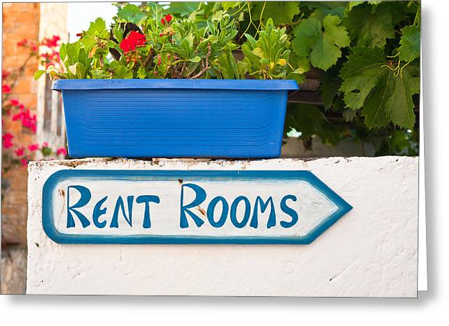 Budget Greeting Cards - Rent rooms sign Greeting Card by Tom Gowanlock