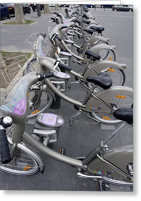 Automated Greeting Cards - Rental Bicycles, Paris Greeting Card by Carlos Dominguez