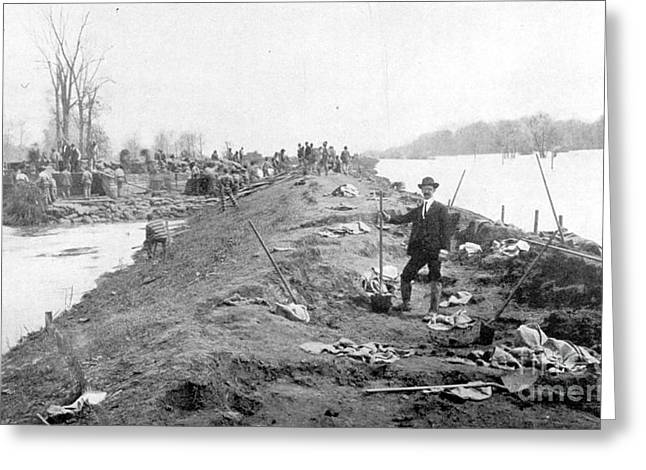 River Flooding Greeting Cards - Repairing Mississippi Levee, 1903 Greeting Card by Science Source