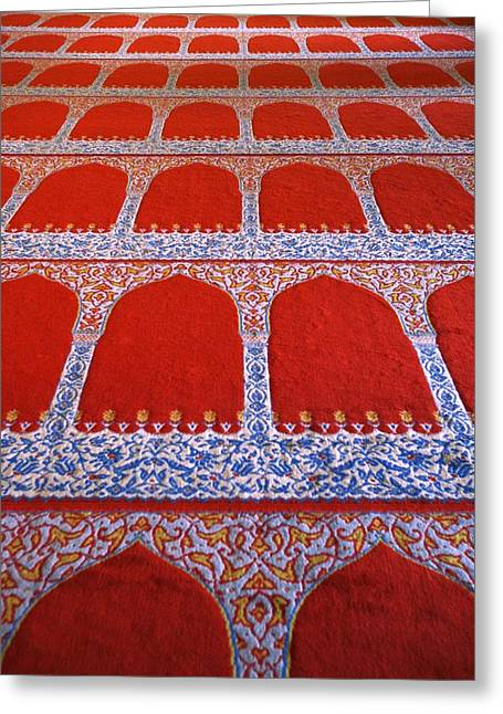 Muslem Greeting Cards - Repeating Pattern On Red Carpet Greeting Card by Carson Ganci