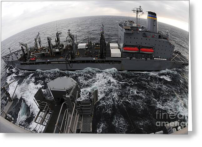 Underway Greeting Cards - Replenishment At Sea Between Usns Greeting Card by Stocktrek Images