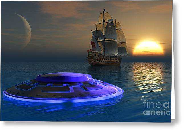 Tall Ships On Water Greeting Cards - Reports Of Strange Glowing Objects Greeting Card by Mark Stevenson