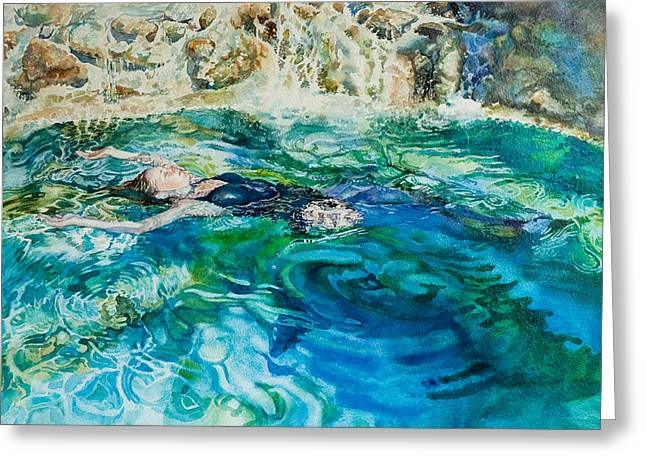 Floating Girl Greeting Cards - Repose In A Pool In France Greeting Card by Gilly  Marklew