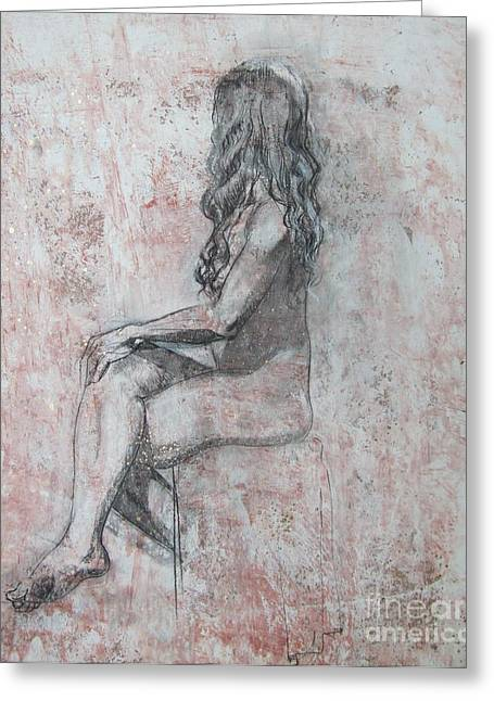 Pondering Drawings Greeting Cards - Repose Greeting Card by Julianna Ziegler
