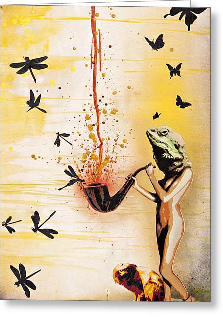 Drip Mixed Media Greeting Cards - Reptilian Feminality Distorts the Primate Regime Greeting Card by Iosua Tai Taeoalii