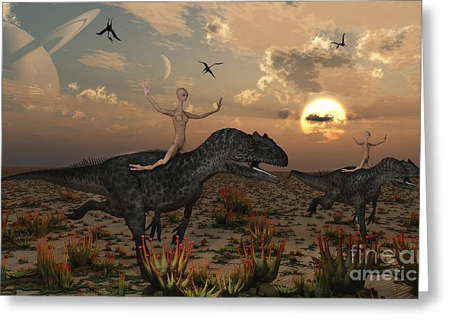 Human Existence Greeting Cards - Reptoids Race Allosaurus Dinosaurs Greeting Card by Mark Stevenson