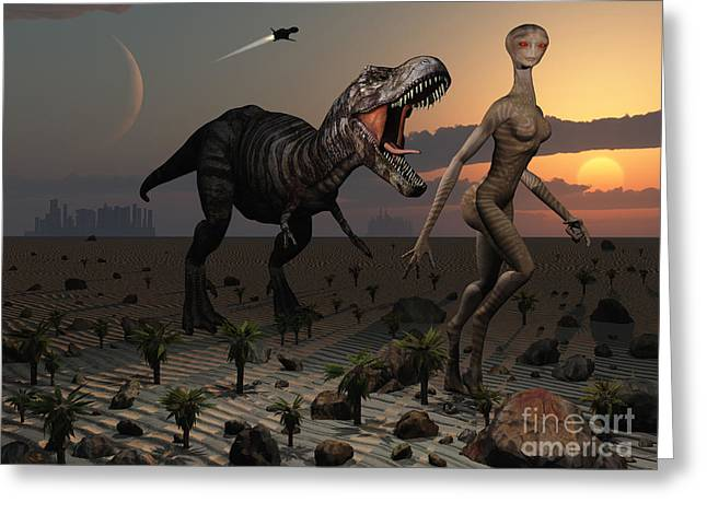 Primeval Greeting Cards - Reptoids Tame Dinosaurs Using Telepathy Greeting Card by Mark Stevenson