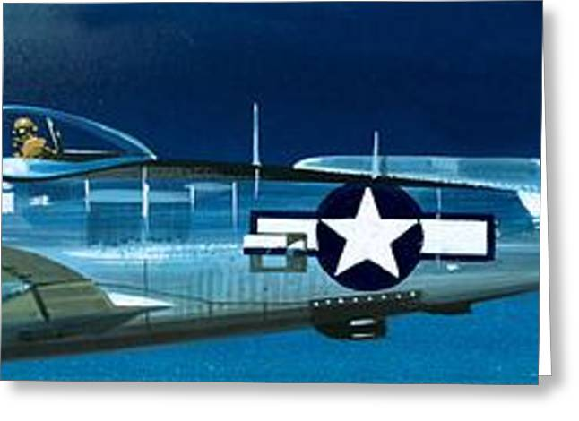 Airplanes Greeting Cards - Republic P-47N Thunderbolt Greeting Card by Wilf Hardy