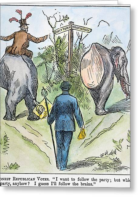Voters Greeting Cards - Republican Cartoon, 1884 Greeting Card by Granger