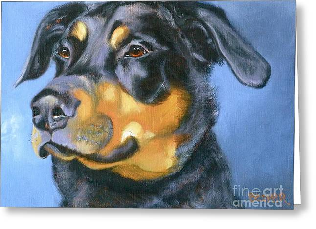 Dog Prints Drawings Greeting Cards - Rescue in Blue Greeting Card by Susan A Becker