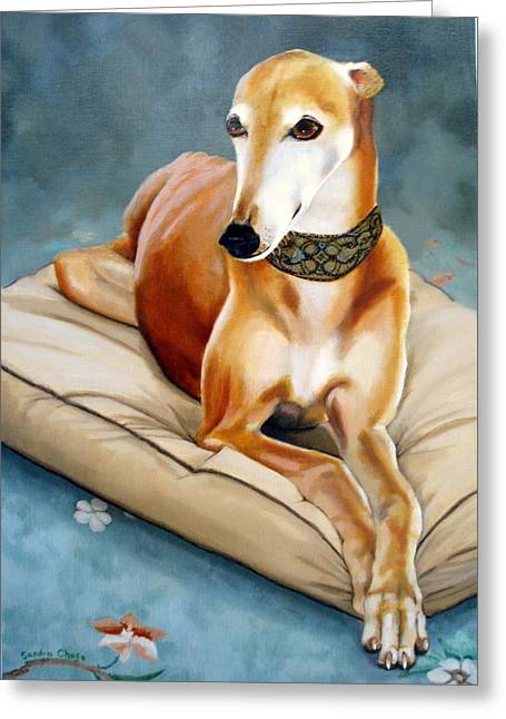 Dog Race Track Greeting Cards - Rescued Greyhound Greeting Card by Sandra Chase