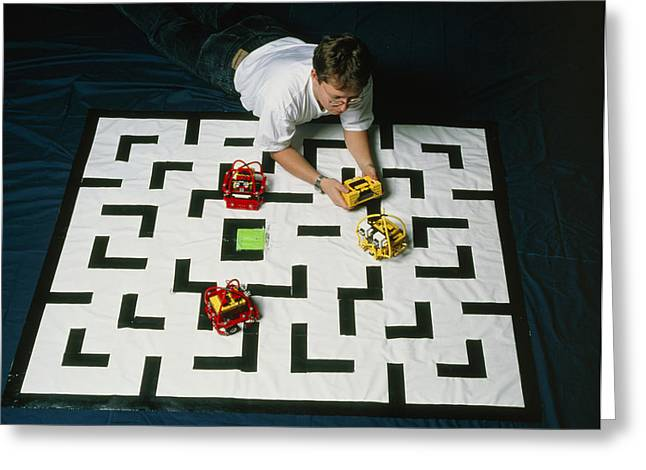 Researcher Testing Lego Robots Playing Pacman Greeting Card by Volker Steger