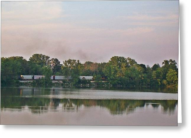 Nature Greeting Cards - Resevoir Train Greeting Card by Sara  Raber