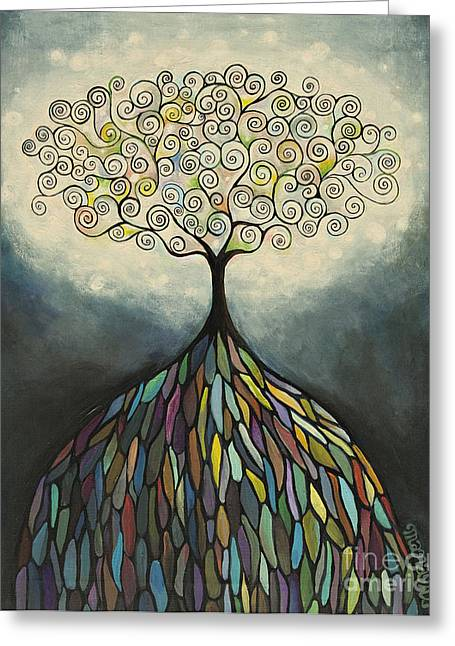 Tree Roots Paintings Greeting Cards - Resonance Greeting Card by Manami Lingerfelt