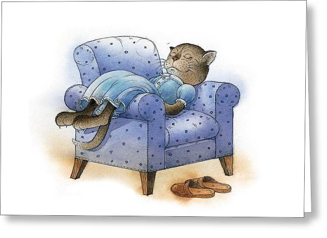 Cat Drawings Greeting Cards - Rest after Breakfast Greeting Card by Kestutis Kasparavicius