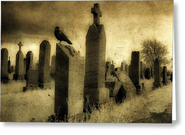 Ravens In Graveyard Greeting Cards - Rest Blackbird Greeting Card by Gothicolors Donna Snyder