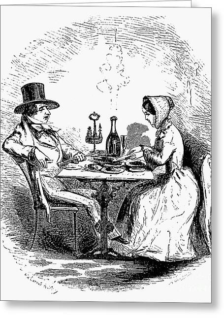 Table Wine Greeting Cards - RESTAURANT, 19th CENTURY Greeting Card by Granger