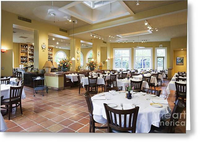 Open Place Greeting Cards - Restaurant Greeting Card by Andersen Ross
