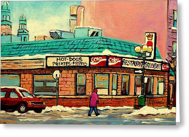 Cant Miss Places Greeting Cards - Restaurant Greenspot Deli Hotdogs Greeting Card by Carole Spandau