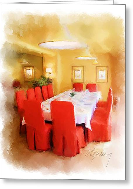 Menu Illustrations Greeting Cards - Restaurant Interior Menu Cover  Greeting Card by Michael Greenaway
