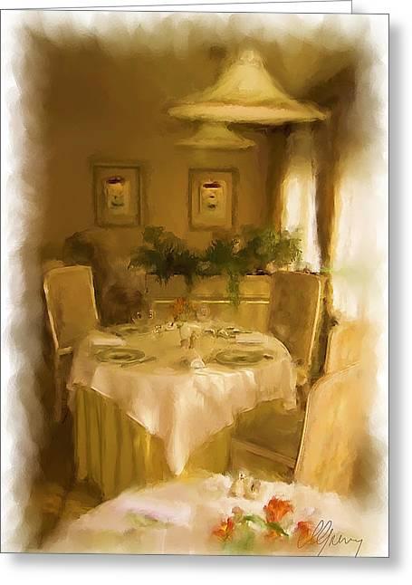 Menu Greeting Cards - Restaurant Javron les Chapelles Greeting Card by Michael Greenaway