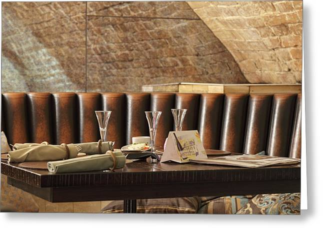 Restaurant Leather Lounge With Three Greeting Card by Magomed Magomedagaev
