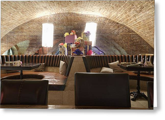 Restaurant Leather Seats With Heap Greeting Card by Magomed Magomedagaev