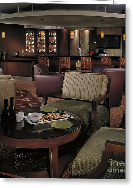 Warm Tones Greeting Cards - Restaurant Lounge Greeting Card by Robert Pisano