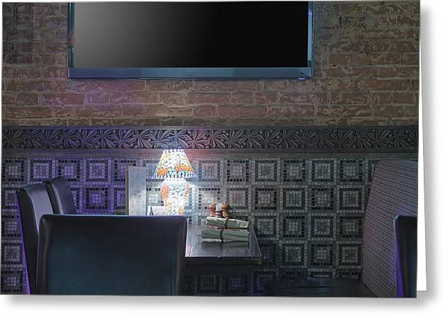 Communication Aids Greeting Cards - Restaurant Table With Lamp Under Tv Greeting Card by Magomed Magomedagaev