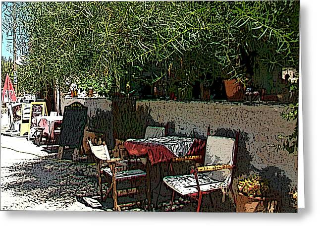 Chios Greeting Cards - Resting corner - Rincon de descanso Greeting Card by Rezzan Erguvan-Onal