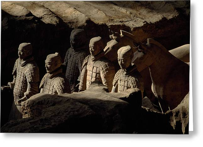 Qin Greeting Cards - Restored Terra-cotta Soldiers Lead Greeting Card by O. Louis Mazzatenta