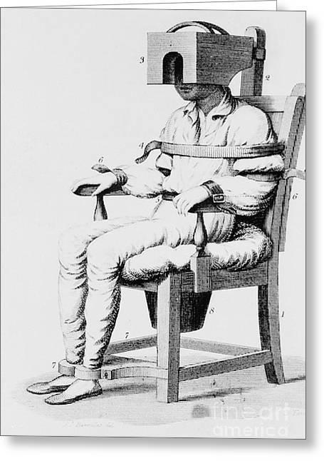 Psychiatric Greeting Cards - Restraining Chair 1811 Greeting Card by Science Source
