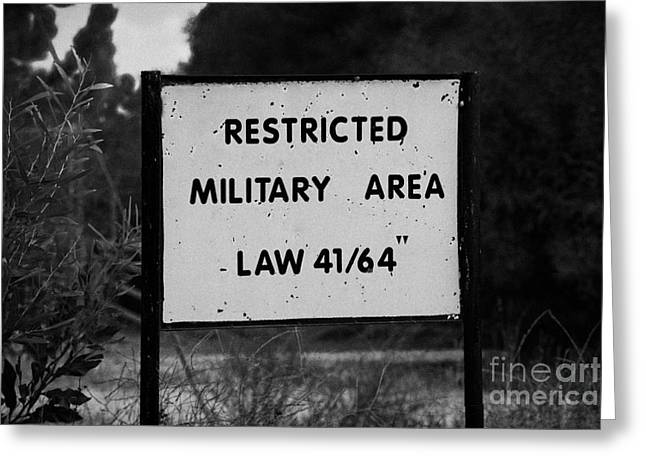 Deryneia Greeting Cards - restricted military area at the greek cypriot border post at the UN buffer zone in the green line Greeting Card by Joe Fox