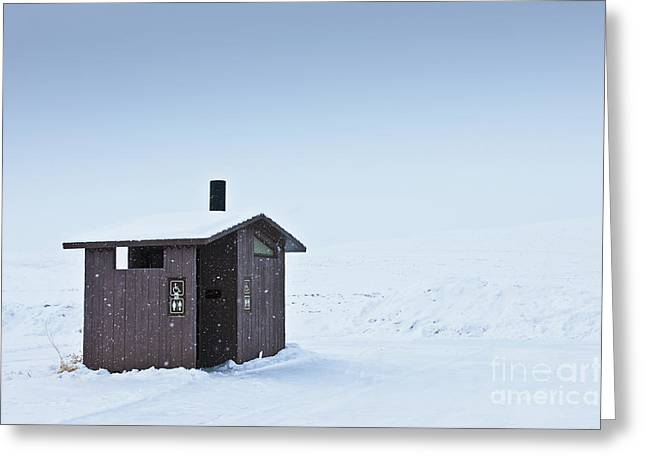 Outbuildings Greeting Cards - Restroom in a Snowy Landscape Greeting Card by Dave & Les Jacobs
