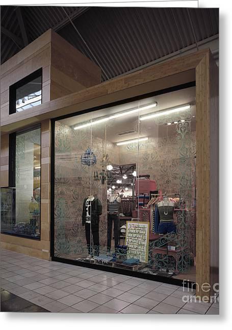 Apparel Greeting Cards - Retail Display Window Greeting Card by Robert Pisano