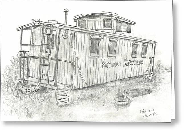 Caboose Drawings Greeting Cards - Retired Caboose Greeting Card by Sharon  Woods