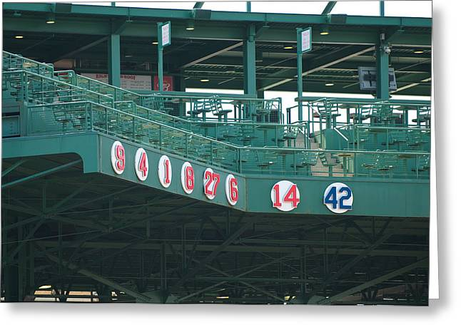 Fenway Park Greeting Cards - Retired Numbers Greeting Card by Paul Mangold