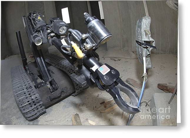 Retractable Arm Of Talon 3b Robot Greeting Card by Stocktrek Images