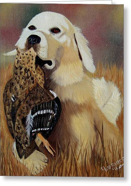 Working Dogs Paintings Greeting Cards - Retriever at Work Greeting Card by Debbie LaFrance