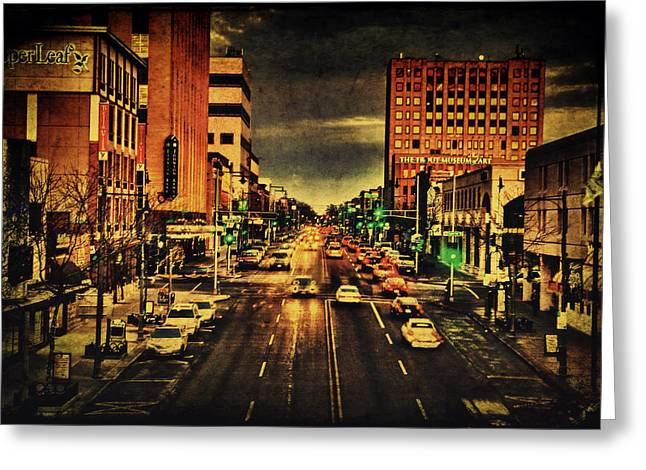 Downtown Appleton Photographs Greeting Cards - Retro College Avenue Greeting Card by Joel Witmeyer