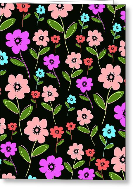 Bold Style Greeting Cards - Retro Florals Greeting Card by Louisa Knight